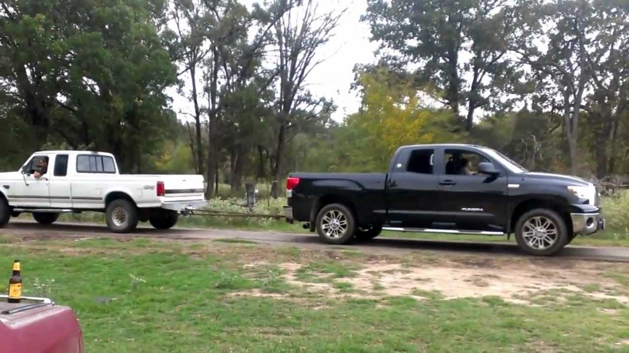 Powerstroke vs Toyota Tundra - YouTube
