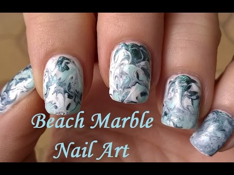 Beach Marble Nail Art Tutorial Without Water Summer Toothpick