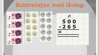 Subtraksjon med låning (penger fra Multi Smart tavle)