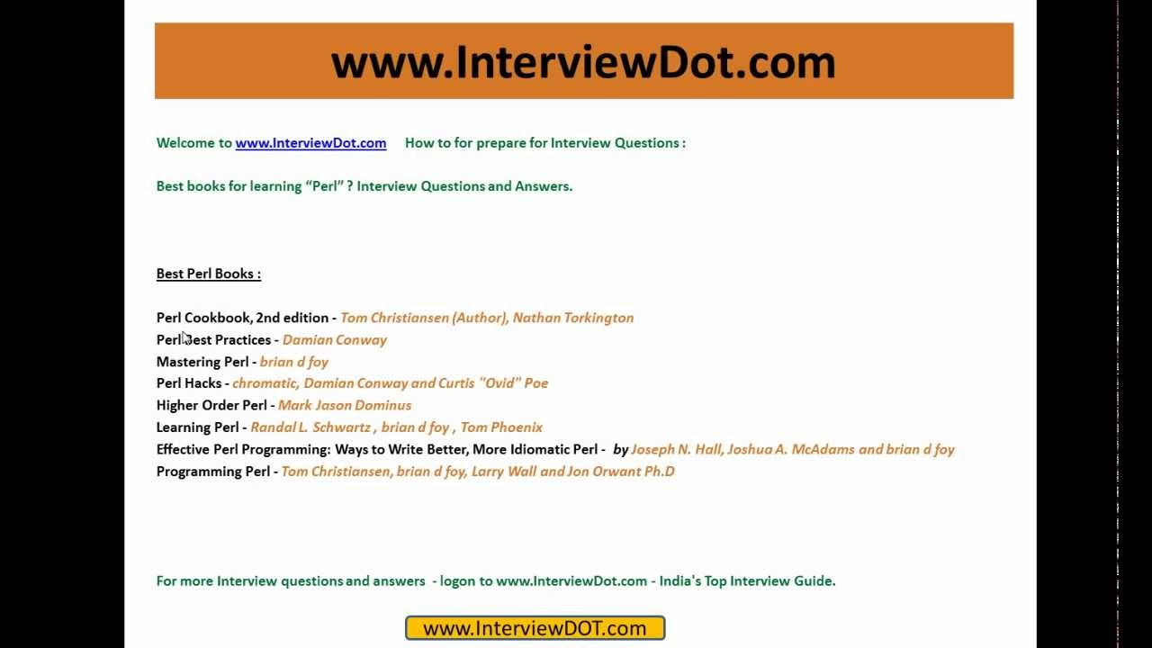 best books for learning perl interview question and answer best books for learning perl interview question and answer
