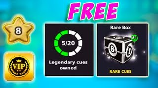 Free 5 legendary cues   81 rare boxes   6 level - 8 Ball Pool