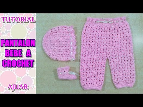 DIY como tejer pantalon para bebe a crochet, ganchillo AJUAR - YouTube