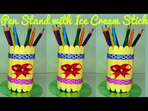 Diy How To Make A Nice Pen Stand By Ice Cream Stick Easy Crafts