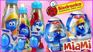 Smerfy 🔹 Biedronka 📘 Zabawki niespodzianki 💙 Jogurt Miami & Woda Polaris Kids