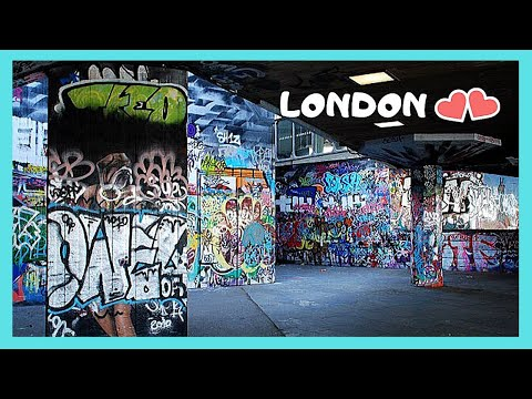 London Lots Of Colourful Graffiti And Skateboarding In Southbank S