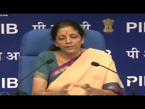 Smt  Nirmala Sitharaman addressing a Press Conference on initiatives of Department of Commerce