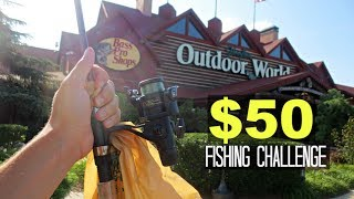 $50 Bass Pro Shops Fishing Challenge!! (Craziness!)