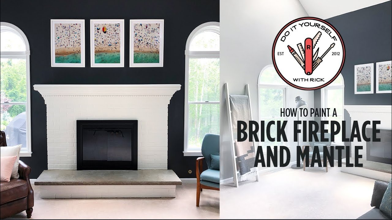 How To Paint A Brick Fireplace And Mantle Youtube