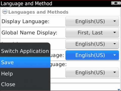 Changing languages on your BlackBerry smartphone