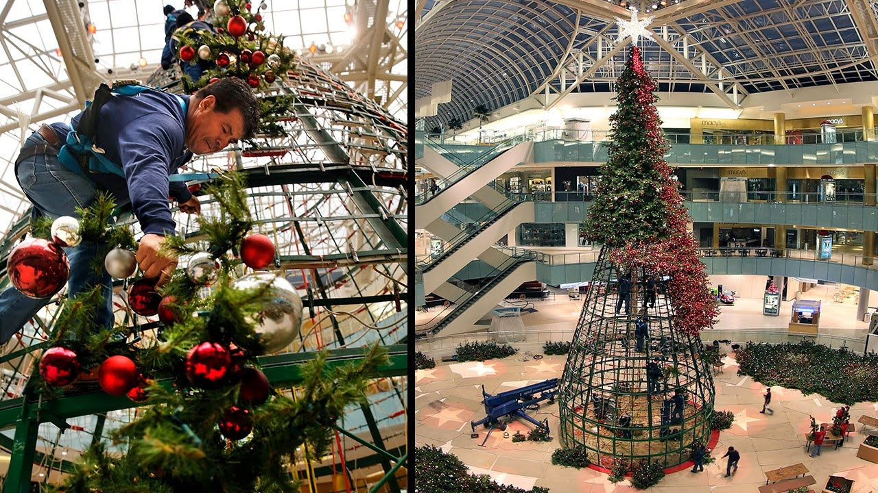 time lapse galleria dallas christmas tree is raised and decorated youtube - 14 Foot Christmas Tree