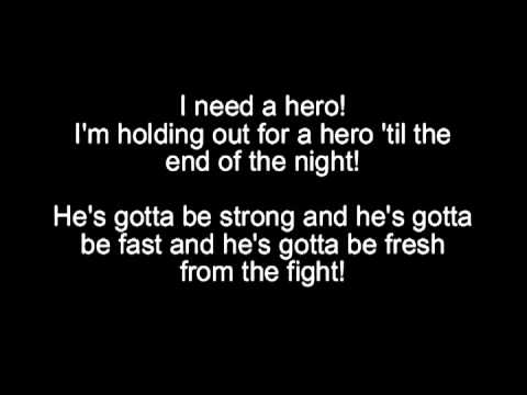 Bonnie Tyler  Holding out for a hero Lyrics on screen