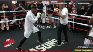 Damn! Jermell Charlo Cracking The Pads Doing Mitt Work with Derrick James For Charles Hatley