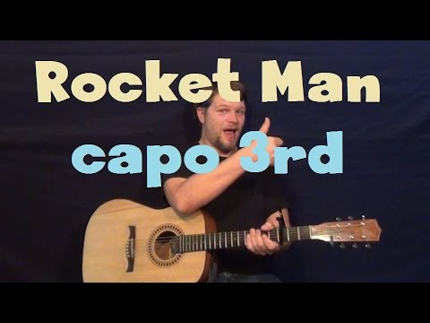 Rocket Man (Elton John) Easy Strum Guitar Lesson How to Play Tutorial Capo 3rd Fret