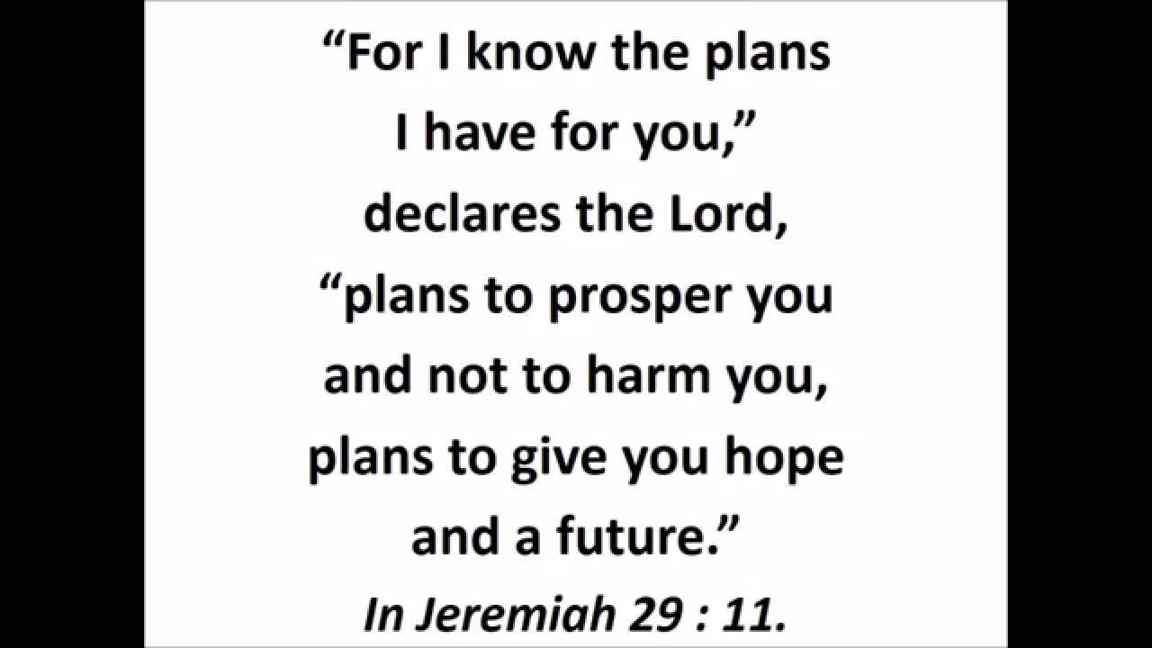 Jeremiah 29 11 For I Know The Plans I Have For You Scripture