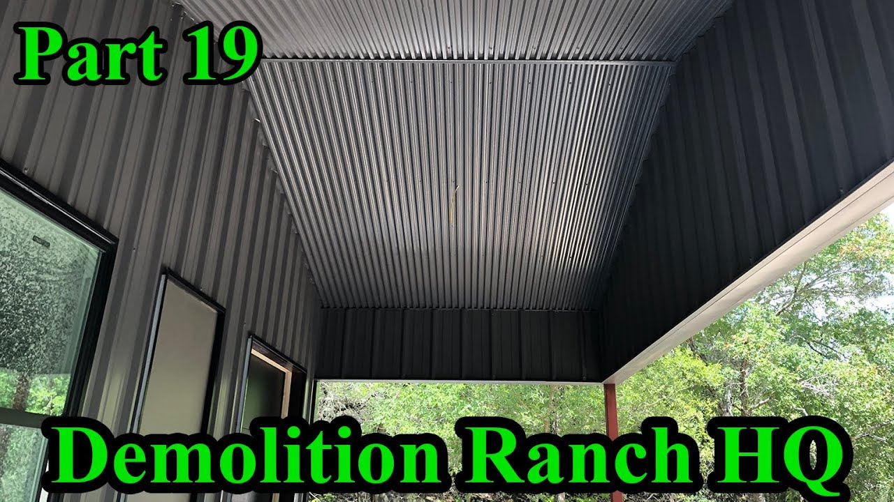 Metal Soffits, rain collection, and OHD installation | Demolition Ranch HQ Build Part 19
