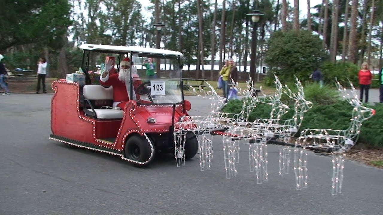 disneys fort wilderness christmas holiday golf cart parade 2012 w donald duck santa mrs claus - Golf Cart Christmas Decorations
