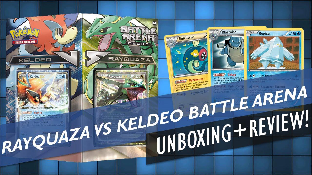Keldeo VS Rayquaza Battle Arena Decks Unboxing + Review ...