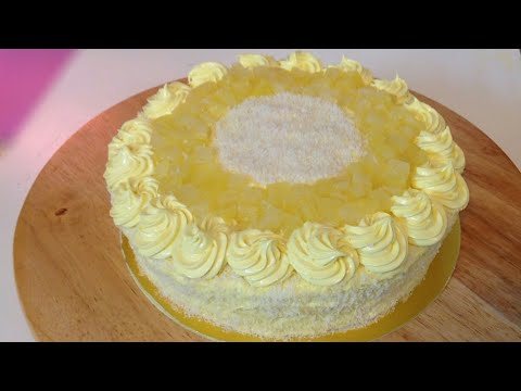 Without Oven Pineapple Cake - Bakery Style Pineapple Coconut Cake