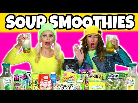 EPIC SOUR SMOOTHIE CHALLENGE. WITH REAL FOOD VS SOUR CANDY MYSTERY INGREDIENTS. (Totally TV)
