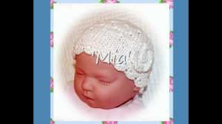 Mia Multisize Lace Baby Or Reborn Doll Hat Double Knitting Aran Yarn Knitting Pattern