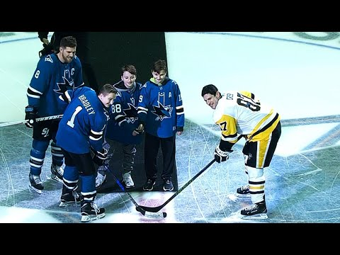 Pavelski steps aside, Hayden Bradley takes ceremonial face off with Crosby