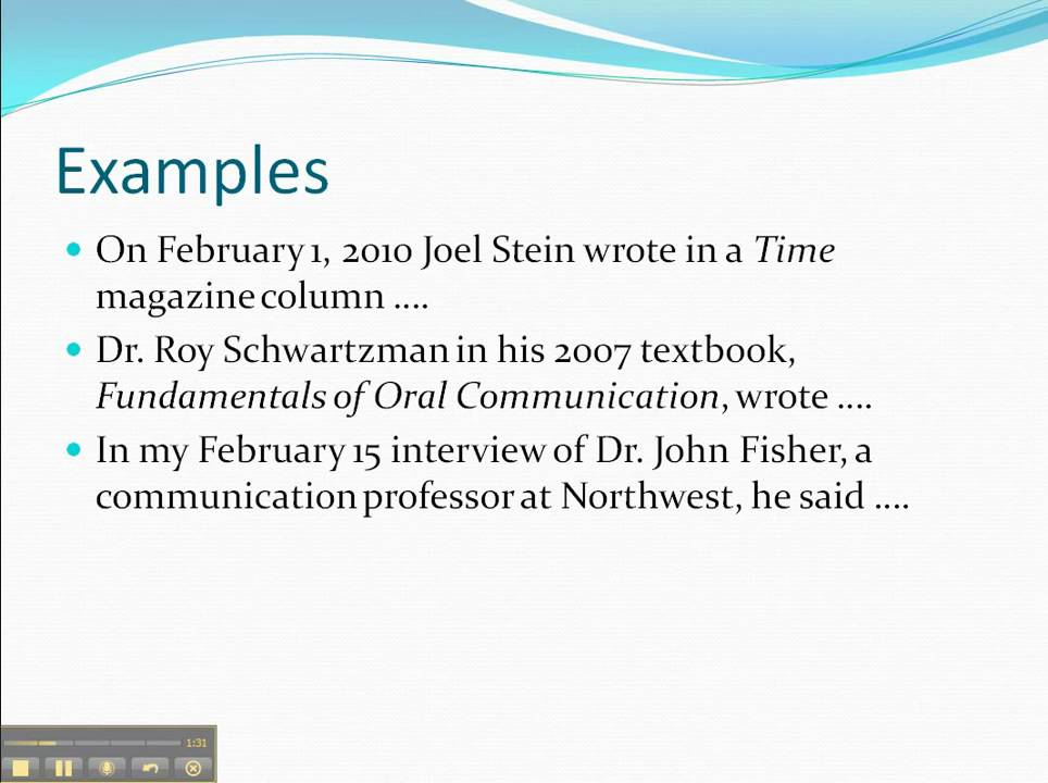 How to do oral citations in speeches - YouTube