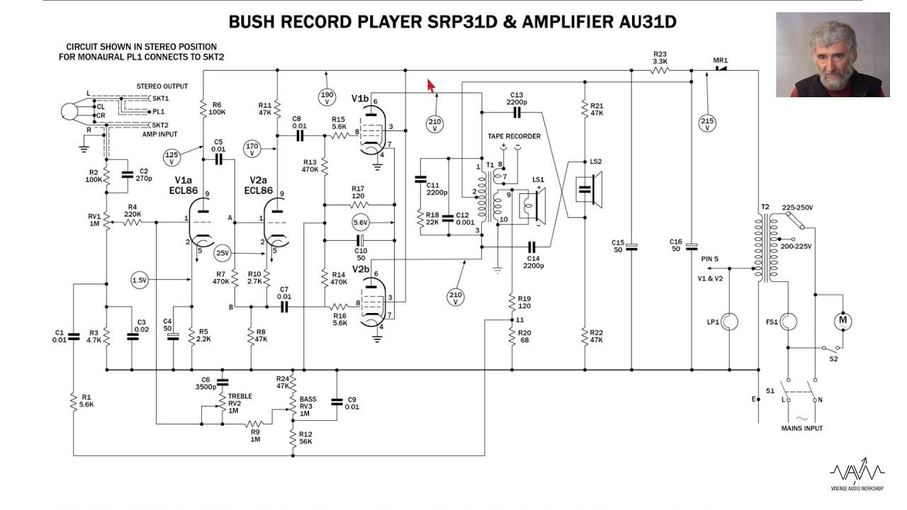 valve amplifier study 021 bush srp31d au31d stereo record player ecl86 x2  [ 1280 x 720 Pixel ]