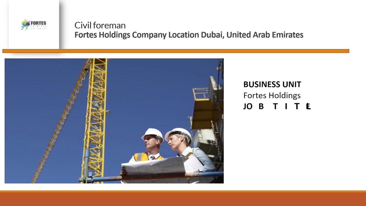 Civil foreman job vacancy Dubai