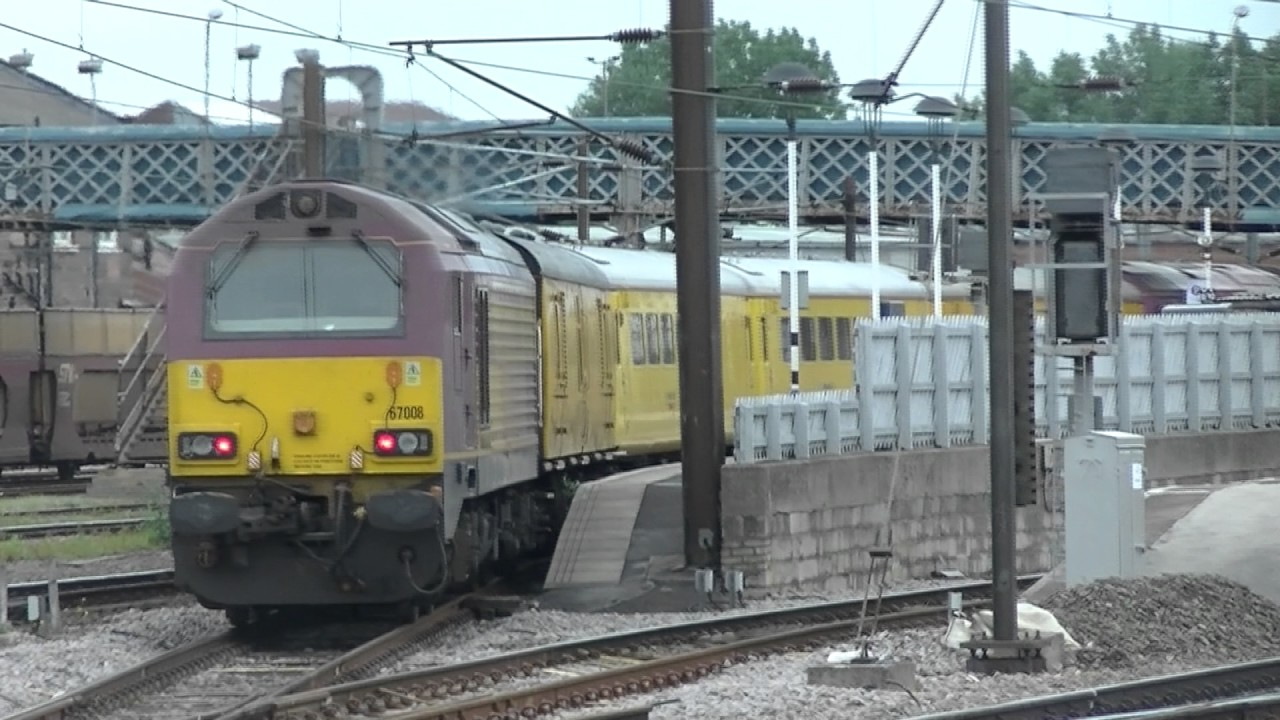 EWS 67025 and 67008 on a Network Rail Test Train at Doncaster