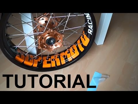 Mount wheel stickers (rim decals) on KTM Supermoto LC4 SMC EXC (tutorial)