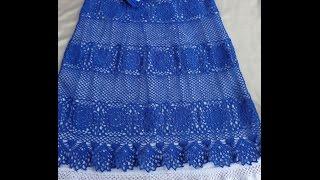 ВЯЗАНИЕ ЮБКИ. Часть 3. Вязание пояса и кокетки юбки крючком.How to tie skirt.