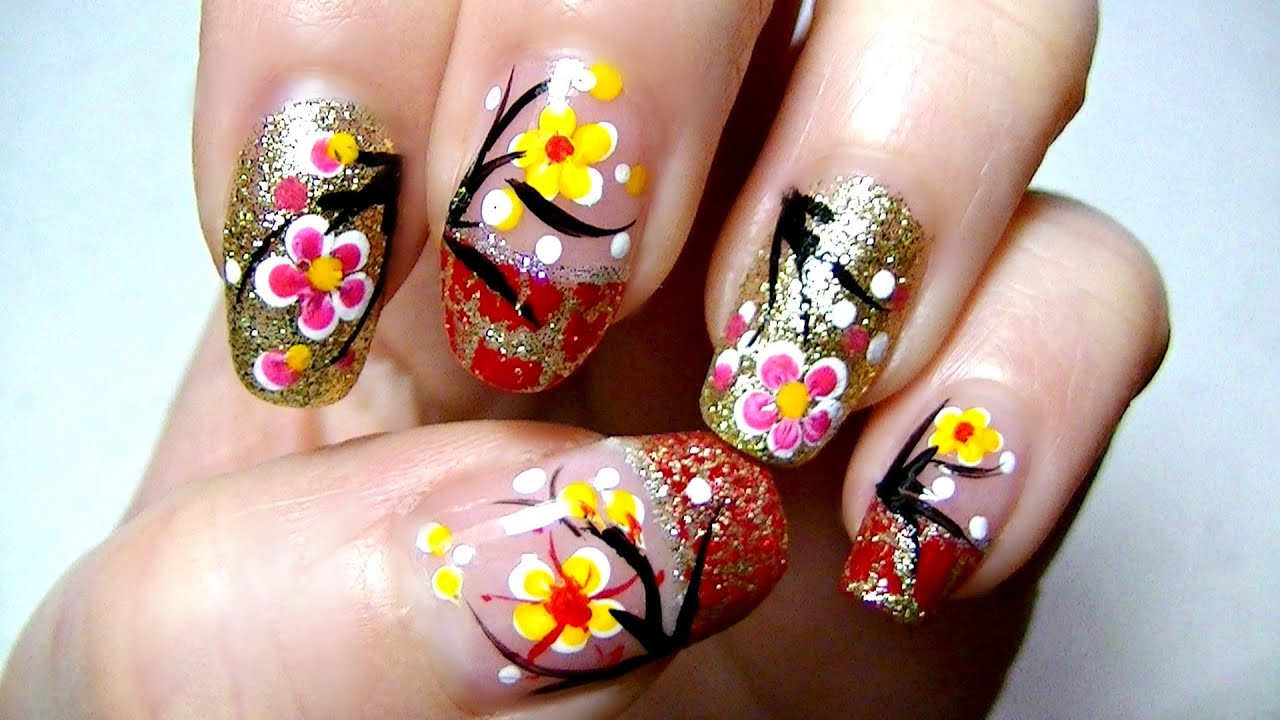 Lunar / Chinese New Year Nail Art Tutorial - YouTube