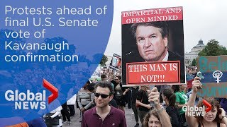 Protests on Capitol Hill ahead of Kavanaugh confirmation vote thumbnail