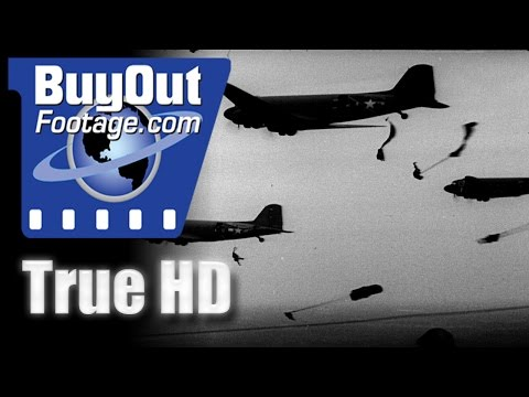 Paratroopers Leap from C-47 HD Stock Footage