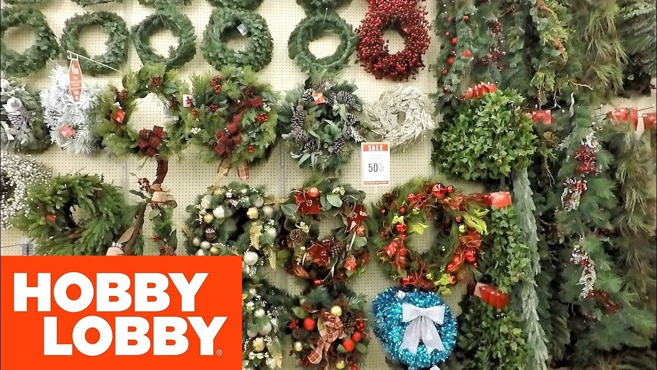 Hobby Lobby Christmas Wreaths.Christmas 2018 At Hobby Lobby Wreaths And Garland Christmas Shopping Decorations Home Decor