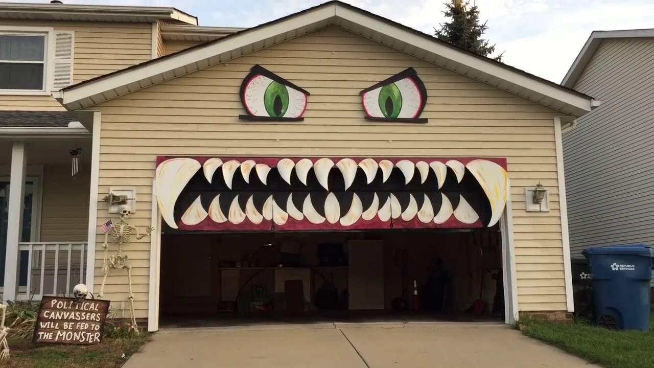 Halloween garage door decorations - Garage Door Transformed Into Giant Monster Is Yearu0027s Best Halloween Decoration Nerdist