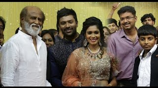 Rajini, Vijay at Shanthanu Bhagyaraj and VJ Keerthi Wedding Reception | Marriage Video