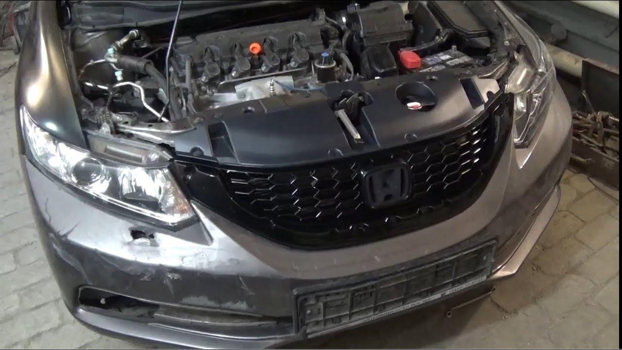 Кузовной ремонт. Honda Civic небольшой удар в лицо.