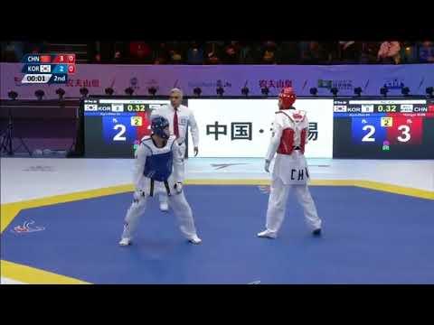 Wuxi 2018 World Taekwondo Grand Slam +80kg Kyodon IN(KOR) vs Hongyi SUN(CHN)