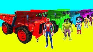Homem-Aranha Parkour com Limusines Tratores Motos Ônibus Carros na pista de obstáculo Gta Stream #14