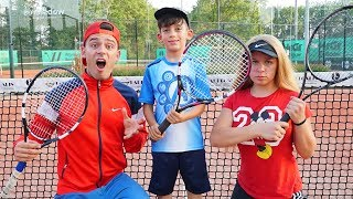 Jason and Family hurry to Tennis Lessons