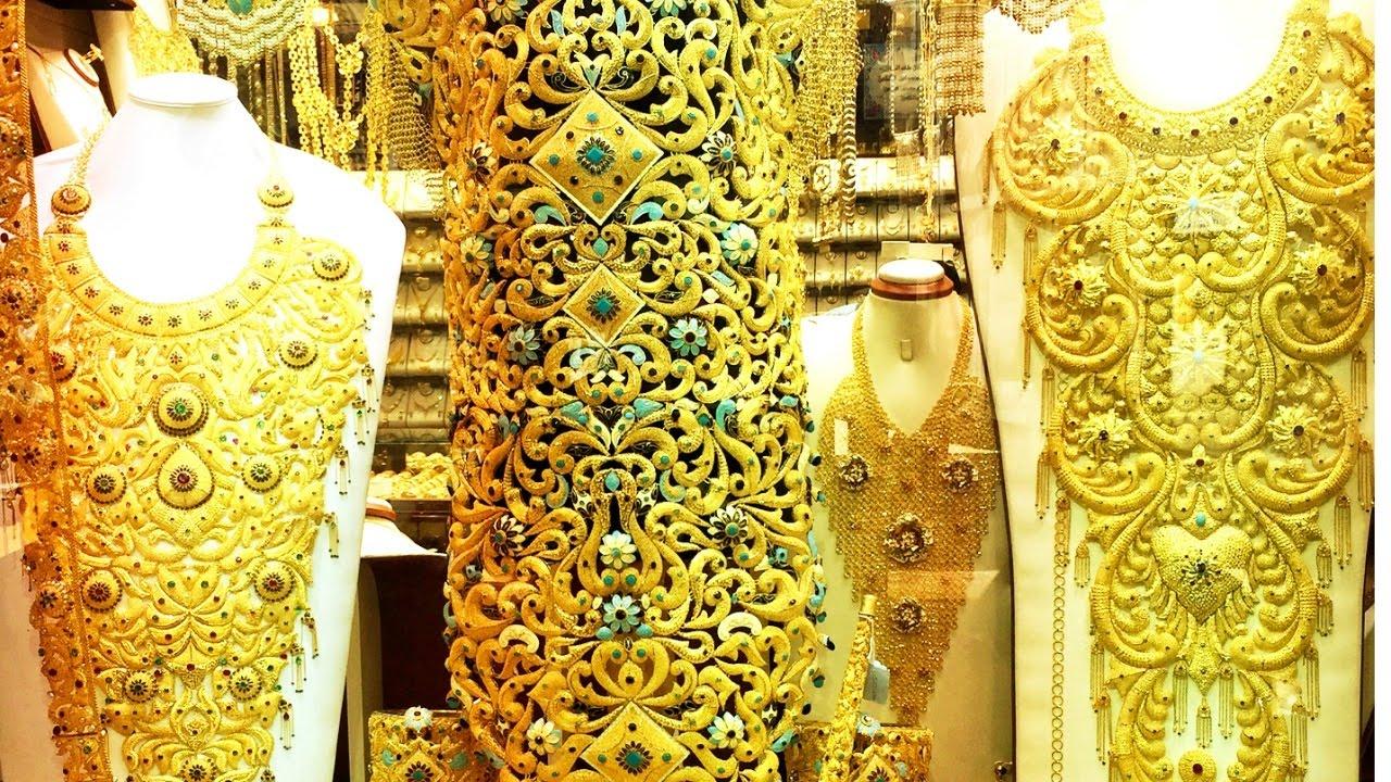 Gold Jewellery دبي Gold Market Dubai سوق الذهب Gold Bangles Gold Necklace Gold Jewellery