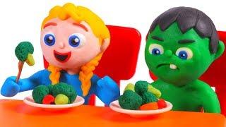 SUPERHERO BABIES EAT BROCOLI ❤ SUPERHERO BABIES PLAY DOH CARTOONS FOR KIDS