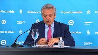 El presidente, Alberto Fernández realiza anuncios