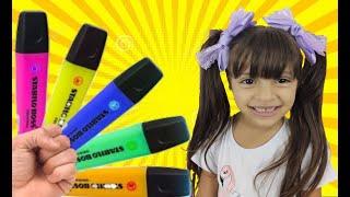 JULIA e a CANÇÃO DAS CORES - preschool toddler learn color شفا والأقلام السحرية