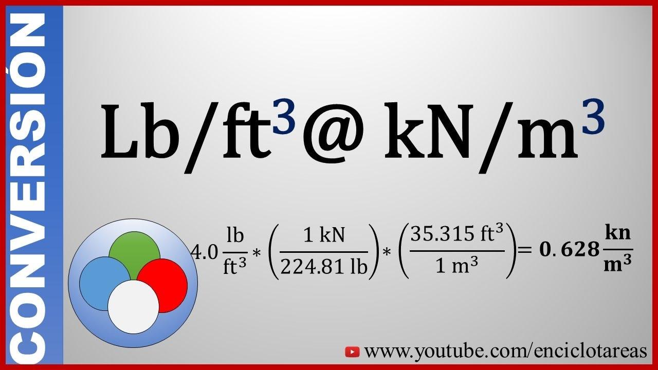 convertir libras pies  c u00fabicos a kilonewton  metros cubicos  lb  ft3 a kn  m3