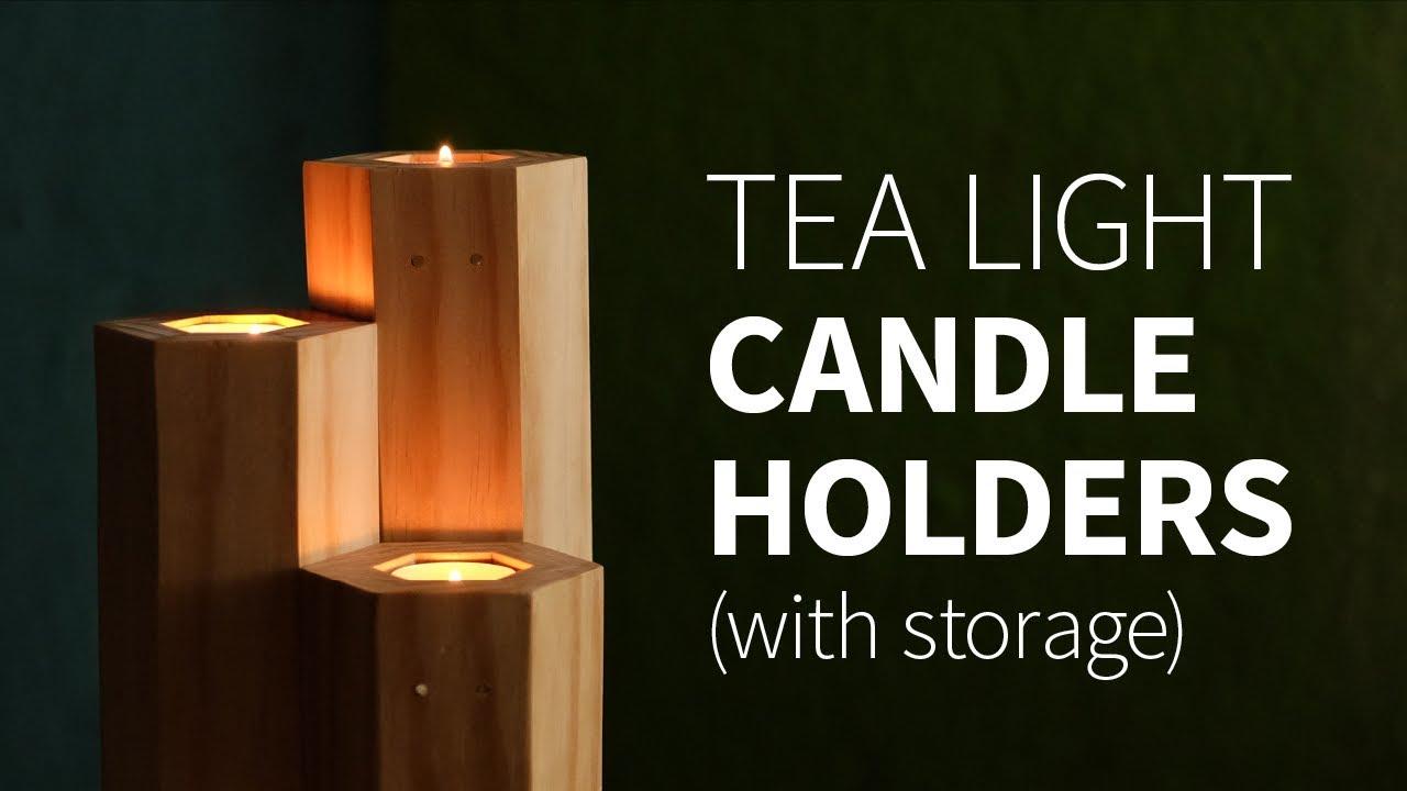 diy tea light candle holder w storage how to youtube. Black Bedroom Furniture Sets. Home Design Ideas