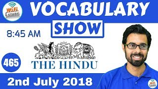 8:45 AM - Daily The Hindu Vocabulary with Tricks (2nd July, 2018) | Day #465