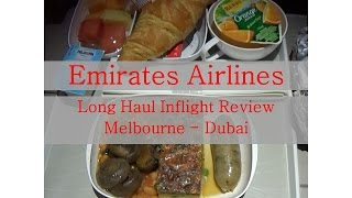Emirates Airlines MEL Dubai A380 long haul Economy Inflight Review