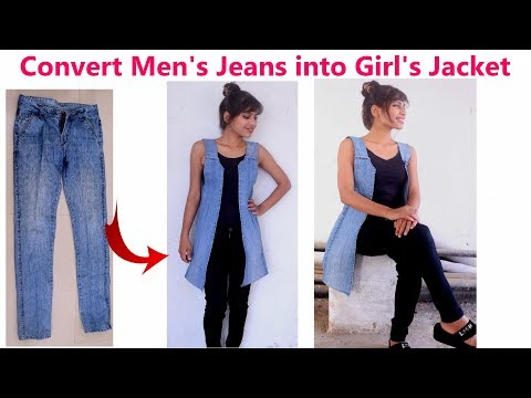 DIY: Convert/ Reuse/ Recycle Men's Old Jeans into Girl's Jac